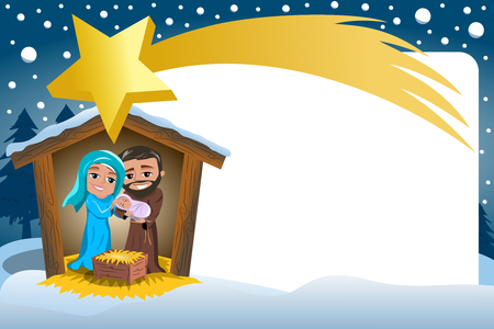 Christmas Nativity Scene in the winter Snowy Frame and big comet