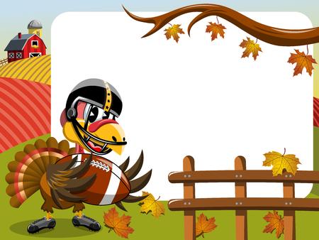 Thanksgiving day horizontal frame featuring turkey playing american football