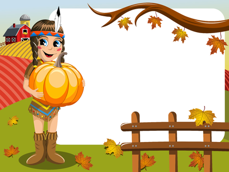 Little Girl in Native American Indian Costume holding pumpkin blank frame outdoor