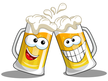 Illustration for Cartoon beer mug making cheers isolated on white - Royalty Free Image