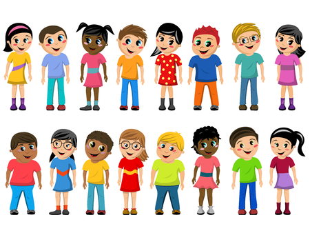 Set of multicultural kids or children standing isolated on white