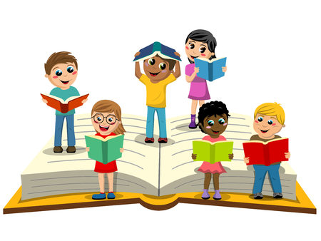 Illustration pour Multiracial Kids or children reading on big open book isolated - image libre de droit