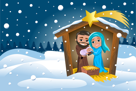 Christmas Nativity Scene Winter Snowy