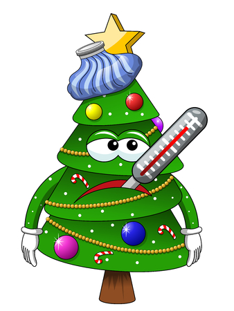 Illustration pour Christmas tree mascot character sick ice bag isolated on white - image libre de droit