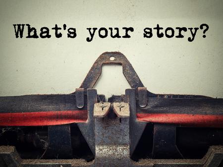 Photo pour What's your story vintage typewriter close up - image libre de droit