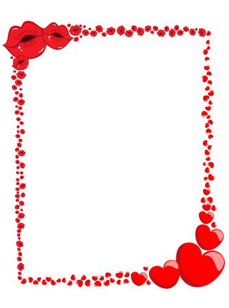Photo pour Decorative Valentine Love Hearts and kisses Frame or Border - image libre de droit