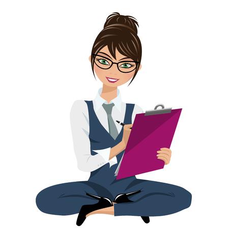 Ilustración de Businesswoman looking and writing on clipboard sit on floor isolated on white - Imagen libre de derechos