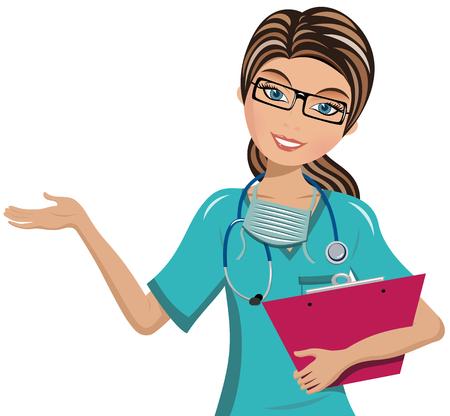 Ilustración de Woman Doctor holding clipboard and presenting isolated - Imagen libre de derechos