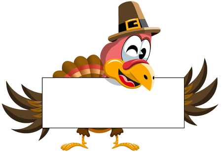 Cartoon Thanksgiving Turkey holding blank banner isolated