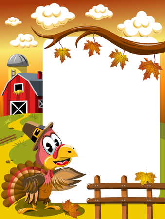 Cartoon thanksgiving turkey in countryside showing white blank vertical frame