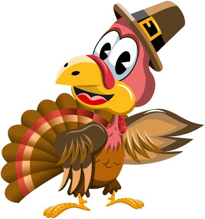 Illustration for Cartoon turkey with pilgrim hat presenting isolated - Royalty Free Image
