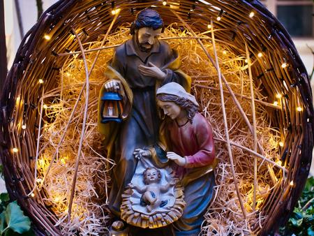 Photo for Nativity scene Jesus kid statue close up manger family symbol - Royalty Free Image