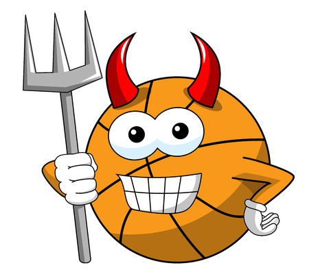 Basketball Ball Cartoon Funny Character Devil Trident Horns Isolated On White Royalty Free Vector Graphics