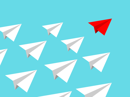 Illustration for Paper airplane team with red leader conducting mission isolated on blue clear sky. Teamworking concept - Royalty Free Image