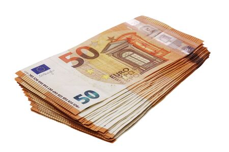 Photo pour 50 euro banknotes stacked isolated on white perspective view - image libre de droit