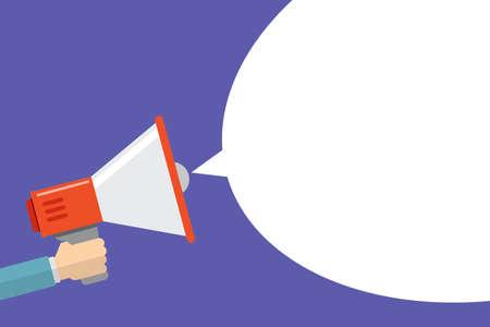 Illustration pour hand holding megaphone announcement flat design bubble speech or chat vector illustration isolated on white - image libre de droit