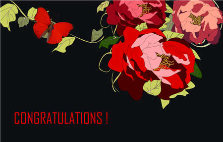 Illustration for Greeting Card with red peonies, vector illustration summer - Royalty Free Image