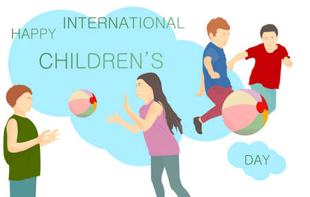 Happy International Children\'s Day banner with text. Children playing with a ball on a blue background
