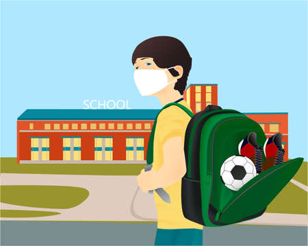 Illustration for Please wear a face mask banner with schoolboy, white medical face mask. Coronavirus banner. Back to school - Royalty Free Image