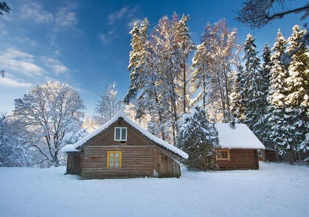 Photo pour Old houses in snowy forest - image libre de droit