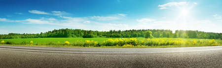 Photo for Road panorama on sunny spring day - Royalty Free Image