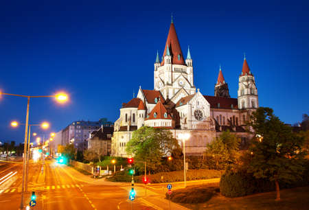 Photo for Saint Francis of Assisi Church on Danube in Vienna, Austria at night - Royalty Free Image