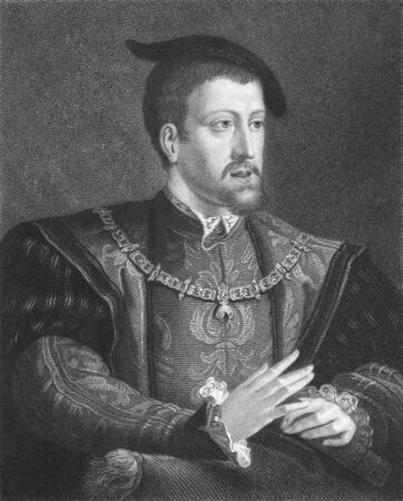Charles V on engraving from the 1850s. Ruler of the Holy Roman Empire from 1519 and of Spain as Charles I from 1506 until his abdication in 1556.