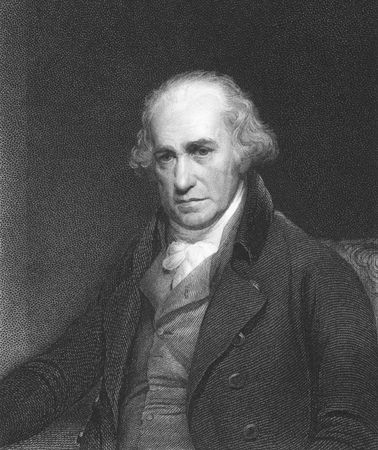 James Watt on engraving from the 1850s. Scottish inventor and mechanical engineer.