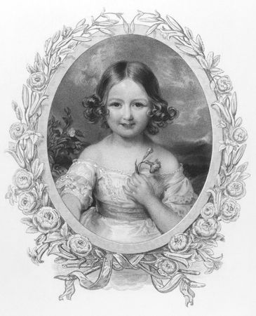 Princess Adelaide (1835 -1900) of Hohenlohe Langenburg on engraving from the 1800s. Niece of Queen Victoria. Published by Fisher, son & Co London & Paris.