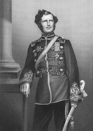 Major-General Sir Christopher Charles Teesdale (1833-1893) on engraving from the 1800s. The first South African born Recipient of the Victoria Cross. Engraved by D.J.Pound from a photograpg by Watkins and published by the London Printing & Published Compa
