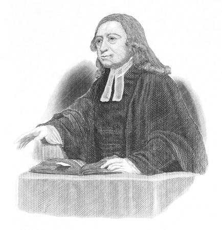 John Wesley (1703-1791) preaching over an open bible on engraving from the 1800s. Anglican cleric and Christian theologian. Engraved after original artwork by J.Jackson.