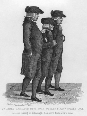 John Wesley walking in Edinburgh between James Hamilton and Joseph Cole. Wesley was the founder of the Methodist denomination of Protestant Christianity. Published in London by Rock & Co in 1851.