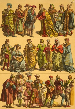 16th Century Netherlands Costumes on engraving from 1890 by Fr.Hottenroth.
