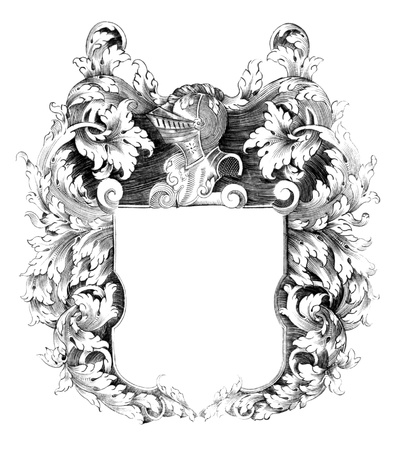 Heraldic crest on engraving from the 1700s.