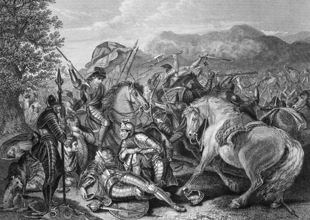 Battle of Otterburn between the Scottish and English in 1388 on engraving from the 1800s. Engraved by J.Rogers after a painting by J.H.Mortimer and published by J.& F.Tallis.