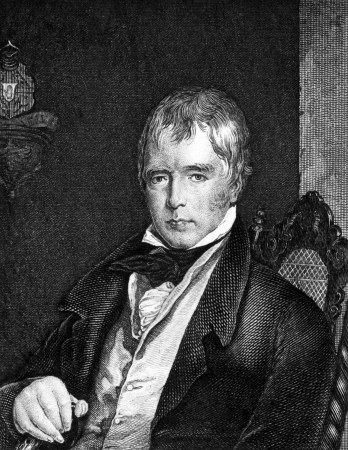 Walter Scott (1771-1832) on engraving from 1859. Scottish historical novelist, playwright, and poet. Engraved by unknown artist and published in Meyers Konversations-Lexikon, Germany,1859.