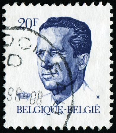 BELGIUM - CIRCA 1982: A stamp printed in Belgium shows portrait of King Baudouin (Albert Charles Leopold Axel Marie Gustave de Belgique), without inscription, from series King Baudouin, circa 1982