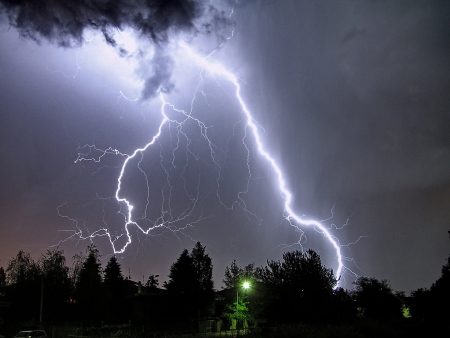 a big lightning in a summer stormの写真素材