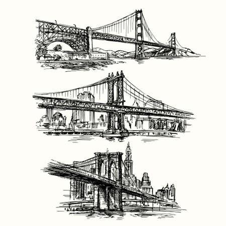 famous bridges - hand drawn set
