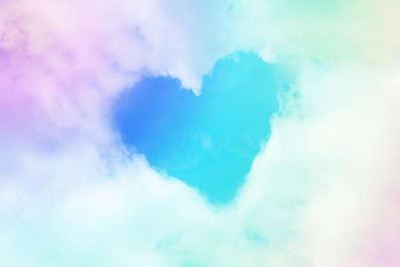 Foto de Cloud heart figure shape form in pastel soft color tone - Imagen libre de derechos