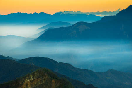 Photo for Alishan Mountains National Park Scenic Sunrise with mist and cloud of sea Landscape at Taiwan - Royalty Free Image