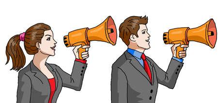 Illustration pour Vector - Businessman and Businesswoman with Megaphone - image libre de droit