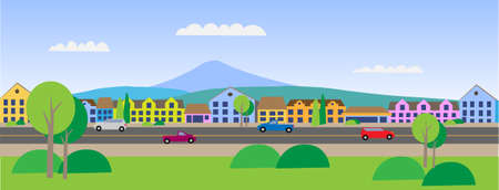 Illustration for Vector - Small Town Main Street Illustration - Royalty Free Image