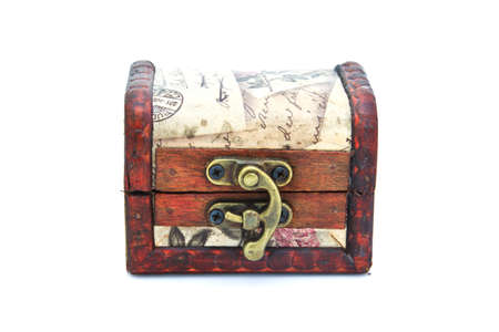 vintage coffer box brown color on a white background