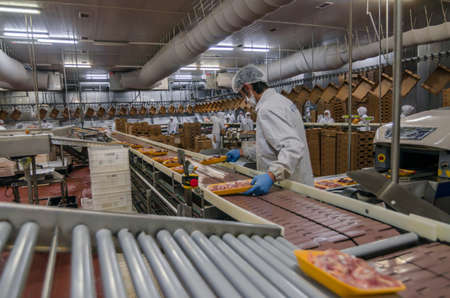 workers working in a chicken meat plant.