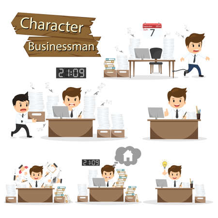 Businessman character on office worker set vector illustration.