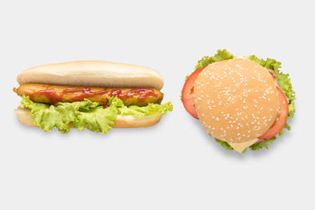 Photo pour Mockup hot dogs and hamburgers set isolated on white background. - image libre de droit