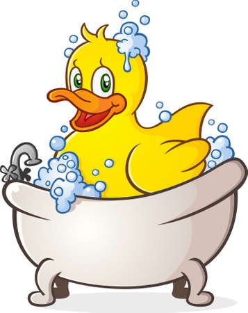 Rubber Duck Bubble Bath Cartoon Character in the Tub