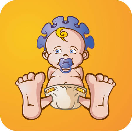 Illustration for Baby Boy Cartoon Character - Royalty Free Image
