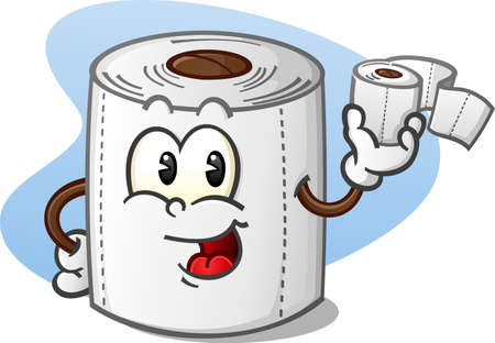 Ilustración de Happy Toilet Paper Cartoon Character Holding a Roll of Bathroom Tissue - Imagen libre de derechos